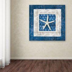 Trademark Fine Art Sea Shell IV on Blue Canvas Art by Belinda Aldrich, Size: 24 x 24, Multicolor