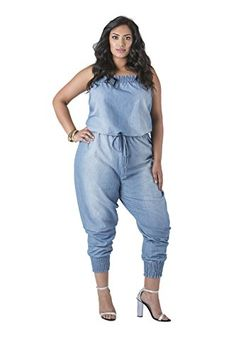 b8c70341c869 Poetic Justice Women's Plus Size Blue Chambray Strapless Light Blasted  Jumpsuit Size 3X