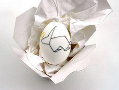 Ostereier - Besticktes Ei ORIGAMI RABBIT - ein Designerstück von acht15 bei DaWanda
