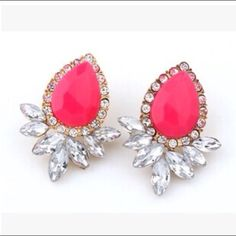COMING PRETTY PINK CRYSTAL EaRRINGS  Pretty, pink, crystal, wanted drop earrings. Pop any outfit with these bright pink, updated version of an classic. Offers/bundles welcome. Jewelry Earrings