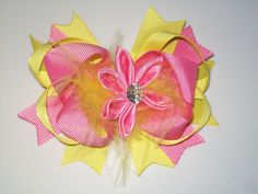 "4.5"" feather pink & yellow hair bows Clip Barrette Alligator Clip 10-6 #Handmade"