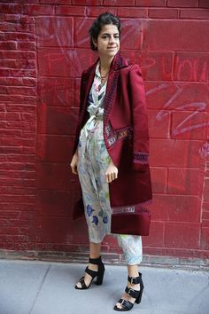 Spring On, Price Off | Man Repeller  Christopher Kane coat, Dries Van Noten dress, shoes by Proenza Schouler.