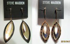 Steve Madden Post Dangle Tear Black & Gold or Leopard Fur & Gold Earrings NWT #SteveMadden #DropDangle
