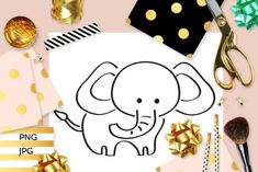 Elephant Coloring (Graphic) by Revidevi · Creative Fabrica Coloring Books, Coloring Pages, Elephant Coloring Page, Elephant Colour, Kids Graphics, Digital Stamps, Gift Cards, Making Ideas, Craft Projects