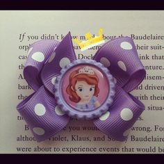 Sofia the first disney princess baby hair bow. $3.25, via Etsy.