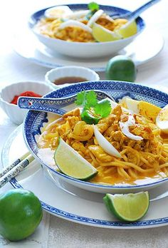 Chicken Coconut Noodle Soup: This popular Burmese chicken coconut soup features noodles doused in a mild curry sauce with a consistency that's somewhere between soup and gravy. Topped with different accompaniments of contrasting textures and flavors, it's a one-dish meal that's perfect for everyday eating and when entertaining guests.
