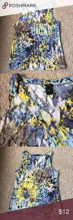 Ann Taylor Blue and Yellow Tank L VGUC. Great for work or weekend, would look awesome with a blazer. Ann Taylor Tops