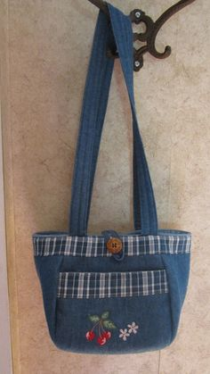 Petite Denim Cherry Pocketbook by hjgriffith on Etsy, $20.00