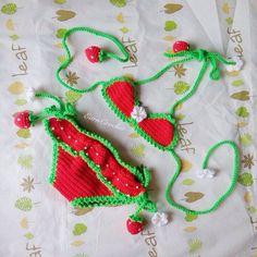 Strawberry beach bikiniCrochet baby por EarnCrochet en Etsy