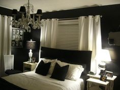 Curtain behind bed. Black and white bedroom. Love.