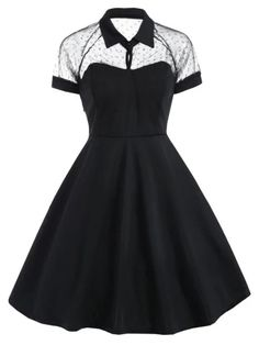 Mesh Panel Vintage Swing Dress - Mesh Panel Vintage Swing Dress Cheap Fashion online retailer providing customers trendy and stylish clothing including different categories such as dresses, tops, swimwear. Cute Casual Outfits, Pretty Outfits, Pretty Dresses, Stylish Outfits, Beautiful Dresses, Casual Dresses, Dresses For Teens Black, 1940s Dresses, Short Dresses