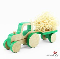 """Madeira empurrar Toy Car - Tractor aniversário - trator de madeira com Toy Trailer - Criança Presente do menino - Puxar brinquedo para crianças - Montessori Brinquedos  Dimensões (comprimento x largura x altura): 10 """"(25 cm) x 2,37"""" (6cm) x 4,2 """" (10,5cm) €27"""