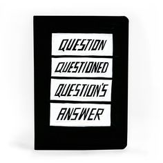 Questions / Answers A5 Notebook / £5   Stylish and sassy notebook from Scott Patt's 'Bigger. Smaller. Funnier' 365 / painting-a-day project. Published by U STUDIO.    #notebook #gift #present #stylish #cheeky #fun #cool #art #design #typography #stationery #colour