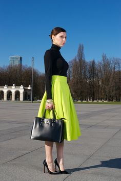 OFFICE[autumn]: neon green midi skirt; black turtleneck