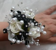 acrylic flower wrist corsage with silver and black ribbon | ... Prom Ladies Bling Rose Pearl Diamante Wrist Corsage - All Colours