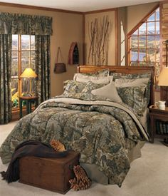 Camo decorated bedroom on an adult level... Clock, curtains and ...