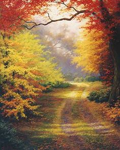 'October Morning' - Artist: Charles H. Autumn Forest, Autumn Art, Autumn Trees, Landscape Pictures, Nature Pictures, Beautiful Paintings, Beautiful Landscapes, Watercolor Landscape, Landscape Paintings