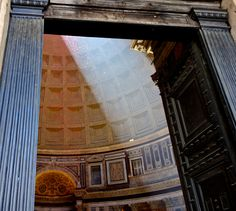 On the Pentecost, firemen go to the top of the pantheon, and drop thousands of rose petals through the oculus, creating a pink shimmering haze.