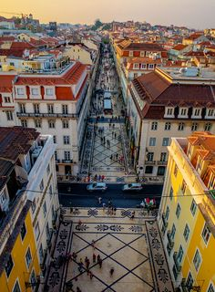 Pedestrian street in Lisbon Portugal. The post Pedestrian street in Lisbon Portugal. Places Around The World, Oh The Places You'll Go, Travel Around The World, Places To Travel, Travel Destinations, Places To Visit, Sintra Portugal, Spain And Portugal, Portugal Travel
