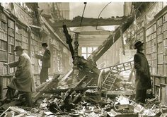 Readers browsing through the bomb-damaged library of Holland House, London, 1940