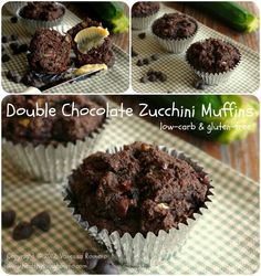 Double Chocolate Zucchini Muffins -- Low Carb