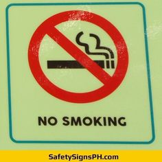 Glow in the Dark No Smoking Sign Philippines Door Signage, Philippines, The Darkest, Smoking, Safety, Glow, Signs, Security Guard, Shop Signs