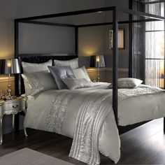 Kylie Minogue at Home Leopard Silver Bed Linen Free Next Day Shipping