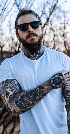 Sexy Tattooed Men, Bearded Tattooed Men, Tattooed Models, Bearded Men, Stylish Mens Fashion, Stylish Mens Outfits, Stylish Men Over 50, Hot Guys Tattoos, Men Tattoos