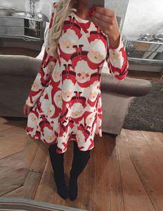 Long Sleeve Santa Claus Prints Fall Skater Dress
