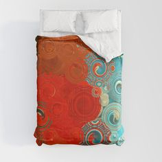 Our lightweight, warm Comforters induce sweet, sweet sleep - and take your bedding to the next level. Designs are printed onto the super-soft material for brilliant images and a dreamy, premium feel. - Available in King, Queen, Full, Twin and Twin XL sizes - Crafted with 100% premium microfiber polyester - Lined with fluffy, lightweight polyfill - Machine washable with cold water on gentle Turquoise Duvet Cover, Foot Of Bed, Soft Duvet Covers, Coastal Decor, Duvet Insert, Swirls, Decor Styles, Home Accessories, Hand Sewing