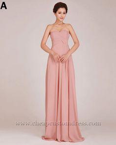 6 Design Floor Length Pink Chiffon Evening Bridesmaid Dresses : Cheapcustomdress.com