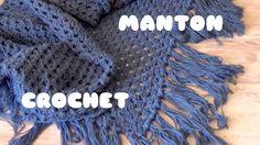 CHAL/MANTON TRIANGULAR DE CROCHET CON FLECOS FACIL | MANTON TRIANGULAR C...