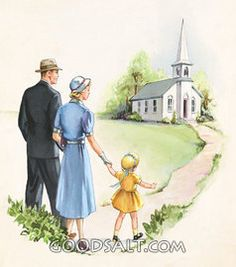 Going to Church Sunday Worship, Church Pictures, Christian Artwork, Worship The Lord, Romans 12, Country Art, Illustrations, Pretty Art, Vintage Pictures