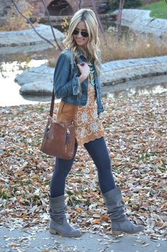 Love the boots and leggings for.: Fall :.