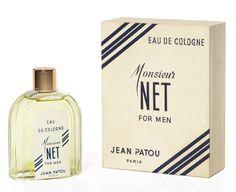 * Monsieur Net Flacon en verre de forme borne, bouchon à vis or gravé «Jean Patou 1956