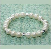 Aurora Ladies Sterling Silver & Pearl Beaded Bracelet – Medium