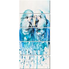 DesignArt 'Spix's Macaw Watercolor' 5 Piece Painting Print on Wrapped Canvas Set