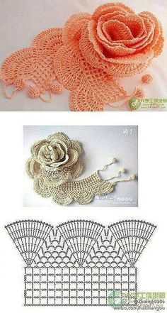 crocheted roses --Pia (crochet chart rose) graph \Crochet Rose Diagram Simple and beautiful!\, \Crochet Rose Diagram - love the lacy effect\, \CrocThat looks outstanding. I've made roses before but they weren't lacy-looking like this one. Crochet Diy, Filet Crochet, Crochet Diagram, Thread Crochet, Love Crochet, Beautiful Crochet, Irish Crochet Charts, Graph Crochet, Crochet Braids