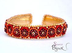 """Bracelet Brodé """" Simply"""" Rouge Bordeaux Doré : Bracelet par source-aux-bijoux"""