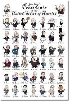 Check Out This Cute Caricature Poster Of The U S Presidents Created By Jason Pruett Link