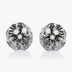 $4.95  Silver Pearl Stud Earrings  This vintage earring features a round flower pattern metal encrusted with 3 pearls and crystals.The flower clip earrings are crafted in oxidized effect alloy with omega clips.