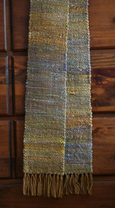 Handwoven scarf with hand dyed hand spun weft by WrenHouseYarns