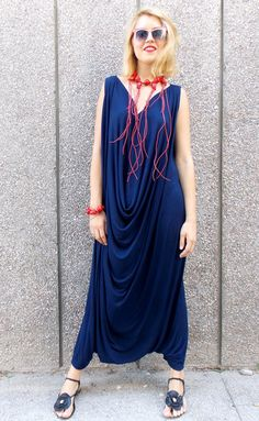 Navy Maxi Jumpsuit with Necklace and Bracelet / Plus Size Maxy Jumpsuit / Summer Navy Jumpsuit TJ05
