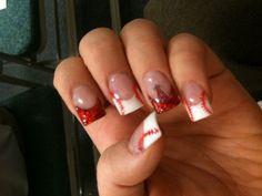 Angels Baseball nails... I would so do this. Lol