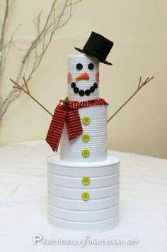 Tin can snowman. Cute.