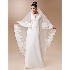 One-tier Tulle Waltz Length Veil With Applique – USD $ 59.99