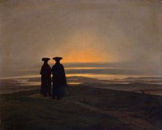 Caspar David Friedrich (1774-1840) Sunset (brothers), ca. 1835  Typical of the German romantic landscape