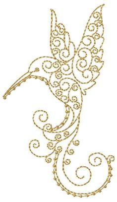 Swirly Hummingbird 2 - would be a cool tattoo Hand Embroidery Patterns, Vintage Embroidery, Embroidery Stitches, Cross Stitch Patterns, Quilt Patterns, Machine Embroidery, Embroidery Designs, Embroidery Boutique, Gold Work