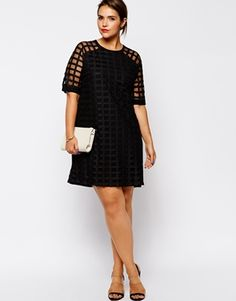 Image 4 ofASOS CURVE Exclusive Shift Dress In Cage Mesh
