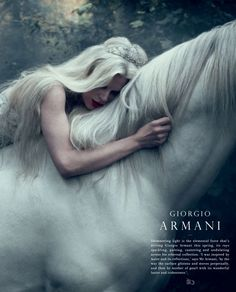 Tim Walker for Giorgio Armani. If this is a unicorn it totally fits my book's mood. Foto Fantasy, Fantasy Magic, Fantasy World, Fantasy Art, Unicorn Fantasy, Elves Fantasy, Dark Fantasy, Tim Walker, Writing Inspiration